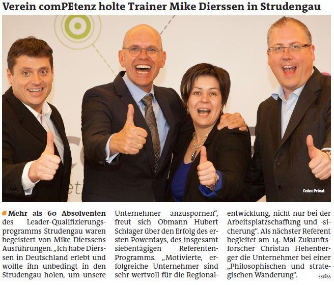 Verein comPEtenz holte Trainer Mike Dierssen in Strudengau 18.04.2013